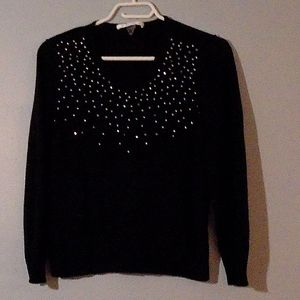 TanJay black sequined v-neck sweater petite L